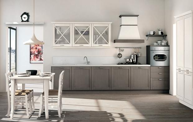 Tortora disegno cucina : Cucina Vivian decapato tortora e bianco spazzolato 362 x 120 cm 1
