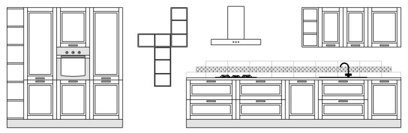 Proposta Mya 10 • Componenti cucina • Misure : 210 x 390 cm