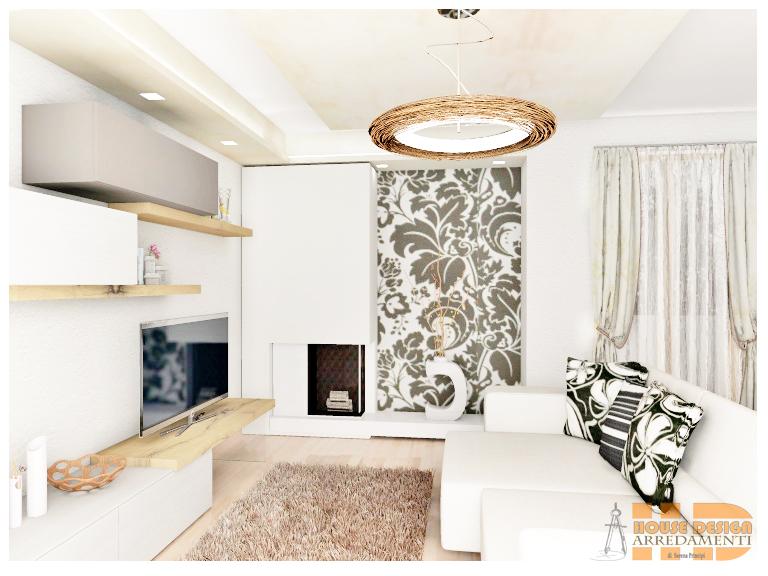Particolare parete decorativa soggiorno con carta da for Carta da parete moderna