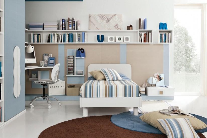 PROPOSTA C124 • particolare del letto con mensole, pannelli boiserie, e cubolotti