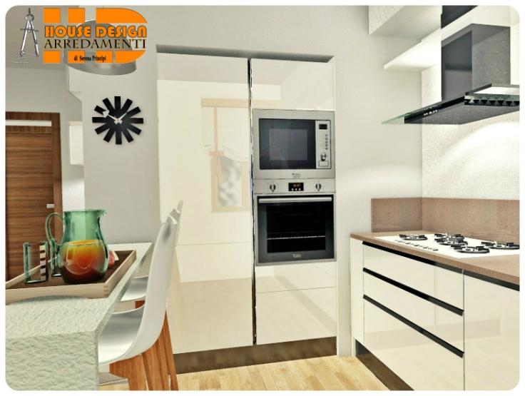 Cucina Urban Bianco lucido con gola • Vista Lato 2