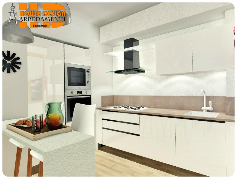 Cucina Urban Bianco lucido con gola • Vista Lato 1