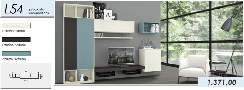 Libreria p.tv_L54_frassino bianco-frassino ardesia-azzurro nettuno