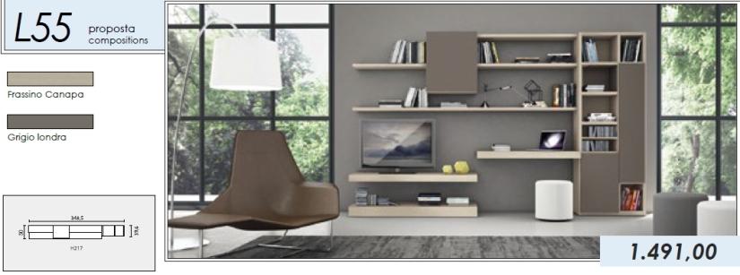 Libreria p.tv_L55_frassino canapa-grigio londra