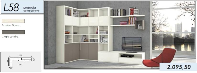 Libreria p.tv_L58_frassino bianco-grigio londra