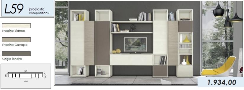 Libreria p.tv_L59_frassino bianco-frassino canapa-grigio londra