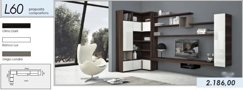 Libreria p.tv_L60_olmo dark-bianco lux-grigio londra
