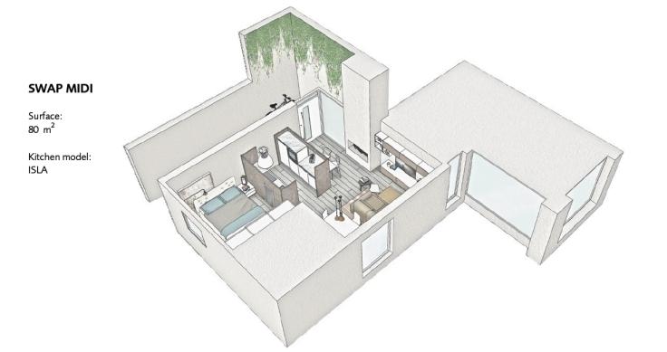 monolocale 80 mq con swap kitchen