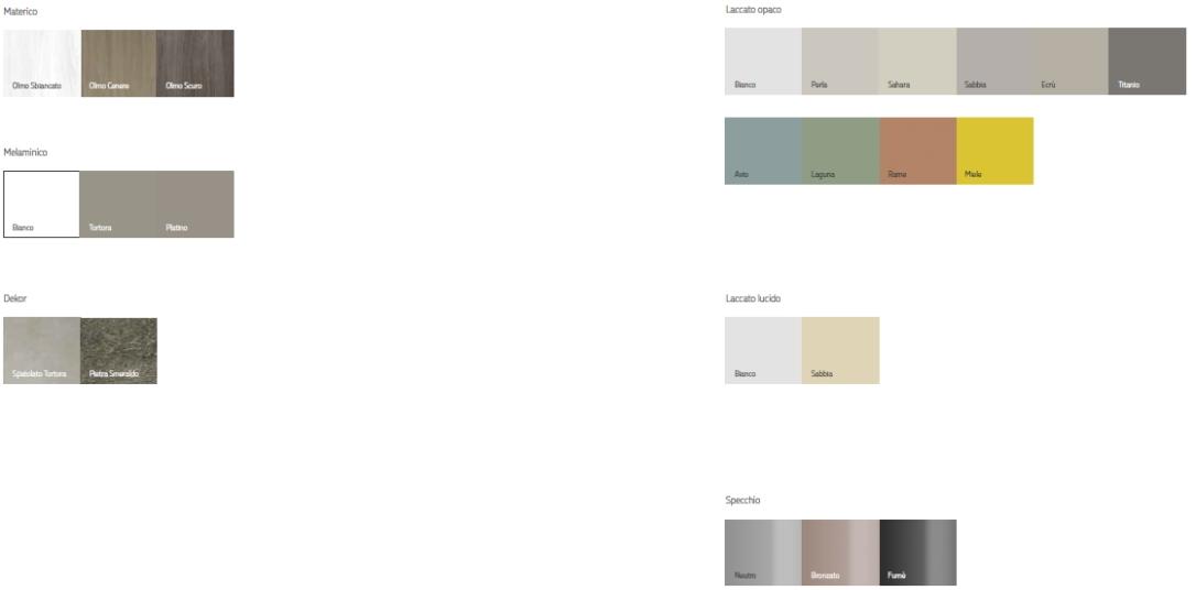 Soggiorni Orme Light finiture e colori